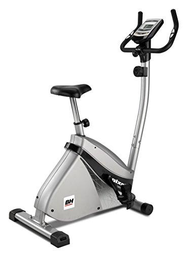 BH Fitness Pixel H494 - Vélo stationnaire, volant 7.5kg, frein magnétique, écran LCD, roues de transport, gris