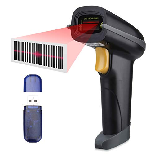 Lecteur de codes à barres, SLYPNOS - Lecteur laser + récepteur sans fil 2.4G + câble USB, lecteur de codes à barres rechargeable automatique pour Apple iOS, Android, Windows, Mac OS (2.4GHz)