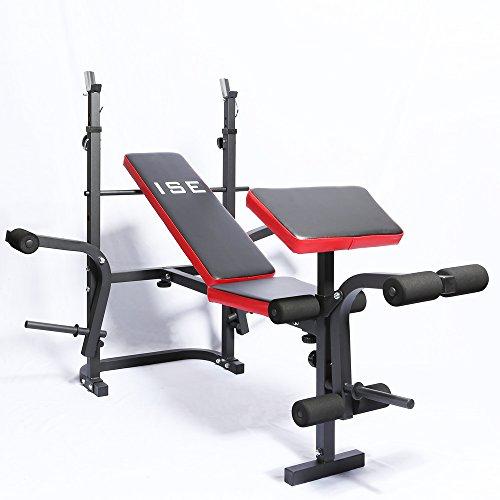 ISE - SY5430B Banc d'entraînement multifonctions inclinable et rabattable à poids pliable pour un entraînement complet