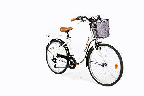 Moma Bikes City Classic 26'- Bicycle Ride, aluminium, Shimano TZ-50 18 vitesses, blanc