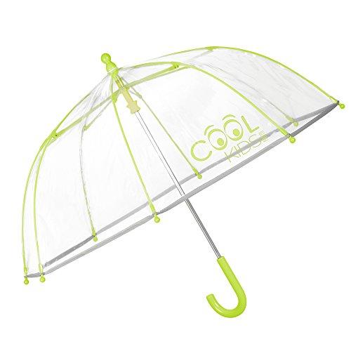Perletti Cool Kids, Parapluie clair garçon et fille, Parapluie bulle forte, Vent et long, Ouverture de sécurité, Vert