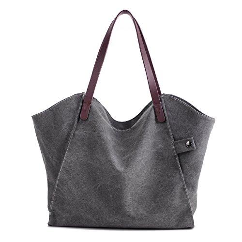 LOSMILE Femmes sacs à main sacs à main en toile sacs à main sacs à bandoulière sacs à main sacs à main sacs à bandoulière Shoppers sac de plage. (Gris)