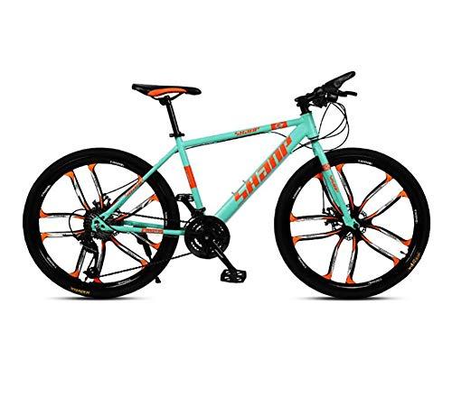 QWE Vélo de montagne adulte 26 pouces 27 vitesses VTT VTT Freins à double disque VTT Vélo de montagne VTT Off Road Speed VTT Vélo de montagne Vert