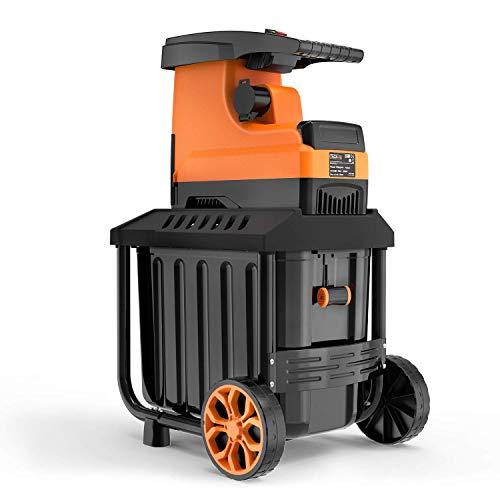 TACKLIFE Déchiqueteuse de jardin, déchiqueteuse de branches 2800W, capacité de coupe maximale 45mm, bac collecteur 60 litres, moteur à induction silencieux, PWS01A