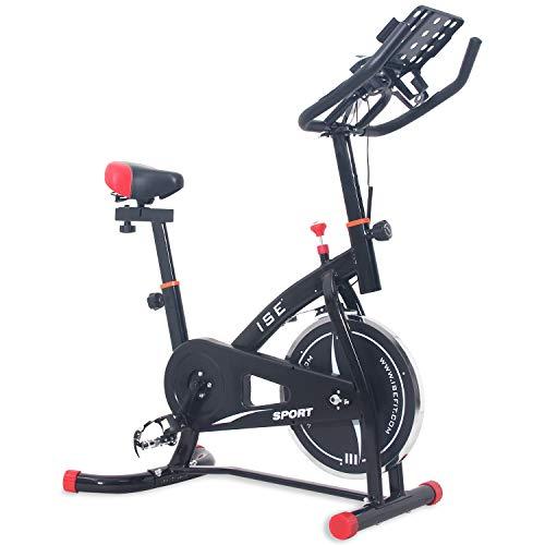 ISE Exercise Bike Spinning avec capteur de pouls, résistance réglable, Fitness Bike Professional Gym Exercise Large Support Convient pour iPad&Mobile, Noir, SY-7804S