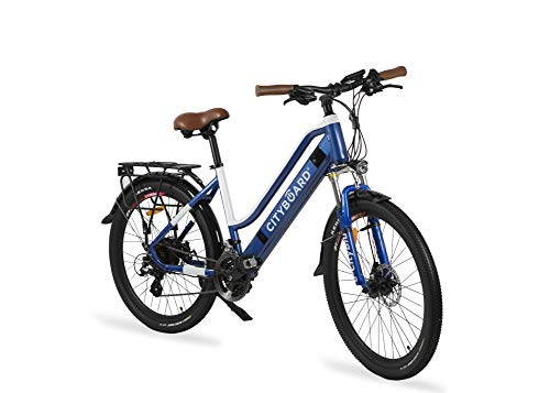 Cityboard E- City Electric Bike, Unisexe Adulte, Bleu/Blanc, 26 pouces