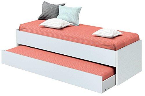 Chambre à coucher junior nid lit blanc clair, sommier inférieur inclus, pour matelas 190x90cm. 202cm largeur x 97cm profondeur x 54cm hauteur.