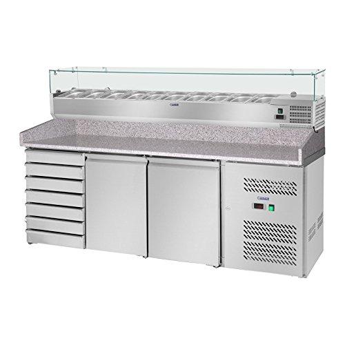 Royal Catering Pizza table réfrigérée RCKT-202/80-9 (702 L, avec vitrine, comptoir en granit, compresseur 235 et 125 W, 2 chambres froides, réfrigérant R600a)