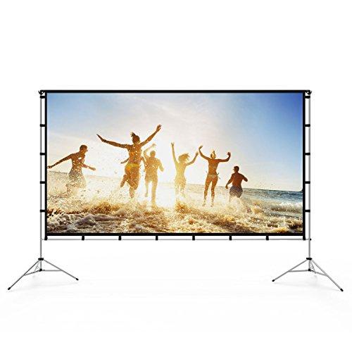 Écran de projection Vamvo HD pour l'intérieur et l'extérieur - 120 pouces - Support pliable, écran portatif - Idéal pour le cinéma maison, le camping en plein air et autres activités récréatives