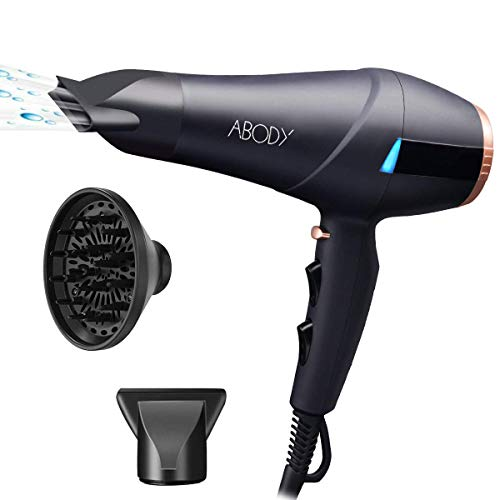 Sèche-cheveux ionique professionnel Abody avec moteur c.a. de 2300 W à 2 vitesses et 3 réglages de température, comprend un diffuseur et une buse de concétrateur d'air