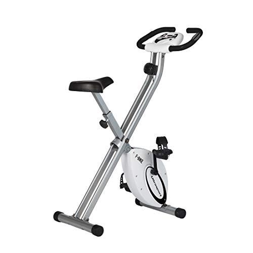 Vélo d'exercice Ultrasport F-Bike, appareil électroménager, pliable avec console et capteurs de pouls au guidon, Argent