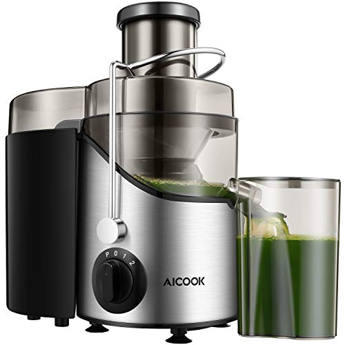Presse-fruits et légumes, presse-fruits Aicook et extracteur de jus centrifuge à large ouverture de 65 mm, sans BPA, avec base antidérapante.