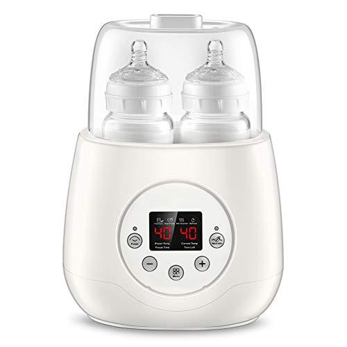 Chauffe-biberon stérilisateur Biberon chauffe-biberon, chauffe-plats pour bébés, double design de biberon 5 en 1 Écran chauffant électrique numérique intelligent à thermostat LED