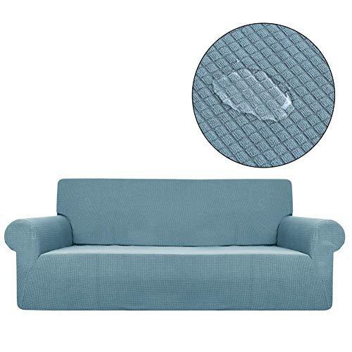 Housse de canapé imperméable, élastique, en tissu, antidérapante avec bord intégral, housse Polar Lining pour canapé 3 places, protège-meubles, bleu clair,