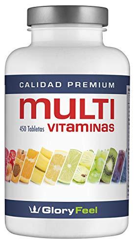 Multivitamines 450 Comprimés Végétaux - Vitamines et Minéraux - Complexe Multivitaminé pour Homme et Femme - Multivitamin by GloryFeel