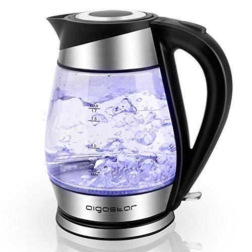 Aigostar Adam 30GOM - Bouilloire en verre avec éclairage LED de 1,7 litre, puissance 2200W, sans BPA et système de protection contre l'ébullition sèche. Design exclusif.