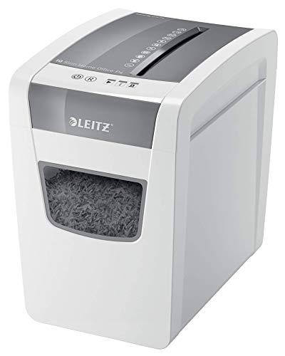 Leitz 80010000 IQ Slim Home Office P4 - Déchiqueteuse pour couper le papier en confettis, détruit 10 feuilles à la fois, corbeille à papier 23 L, blanc