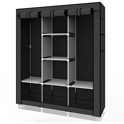 UDEAR Armoire en tissu pliable Organisateur de vêtements Armoire à vêtements armoire portative armoire armoire noir