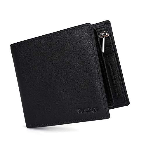 Vemingo Porte-monnaie homme avec pochette à monnaie/verrouillage de billet RFID pour homme/adolescent Porte-cartes de crédit léger (Xb-037 Noir)