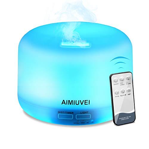 AIMIUVEI Humidificateur à ultrasons Aromathérapie avec télécommande, Diffuseur Huiles Essentielles Aromathérapie Ultra Silencieuse, Extinction Automatique et 7 LEDs Humidificateur pour bébé, etc.