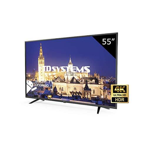 TD Systems K55DLY8US - 55 pouces Ultra HD 4K Smart Led TV, résolution 3840 x 2160, HDR10, 3X HDMI, VGA, 2X USB, Smart TV.