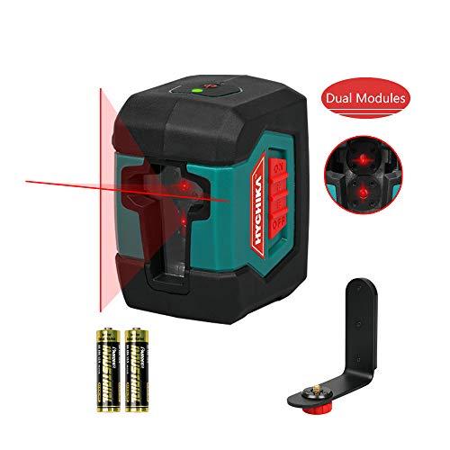 Niveau laser, niveau laser automatique HYCHIKA à nivellement transversal avec module laser double (alternance entre lignes simples et doubles), 15 mètres de laser automatique à nivellement horizontal/vertical à 2 lignes.