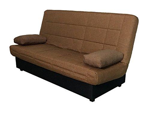 Canapé-lit Abitti Color marron Système de pliage facile avec sommier à lattes et sommier à lattes 190 cm
