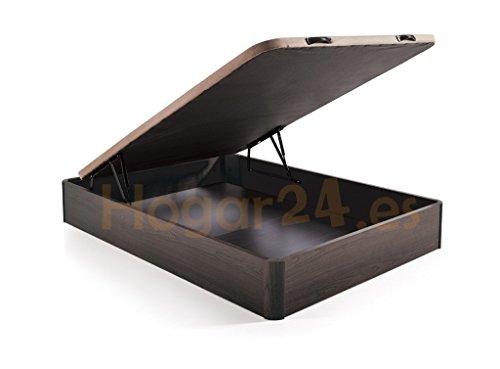 HOME24 ES Canapé pliant en bois Canapé grande capacité avec couvercle 3D et vannes de transpiration, avec coins en bois massif, couleur wengé, 150X190
