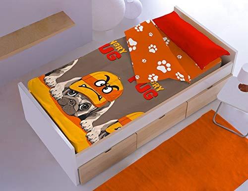 Denisa Home Couette pour enfants Tommy Pug sans rembourrage (105 cm)