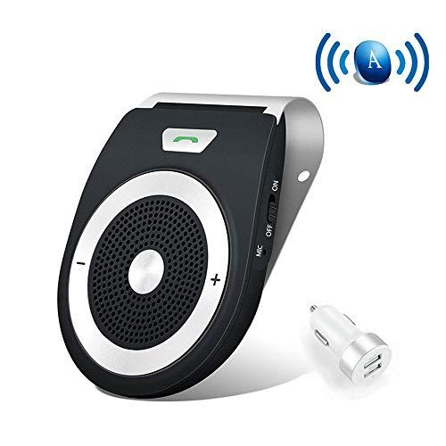 Kit mains-libres Bluetooth Auto Power ON avec capteur de mouvement intégré, réduction écologique et bruit de fond pour écran GPS et musique en même temps Connecter deux téléphones