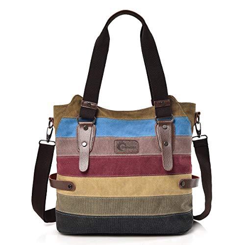 CHEREEKI Sacs à main femme, Sac à bandoulière en toile rayée avec grande capacité pour sac à bandoulière Travel Shops Shopping Casual