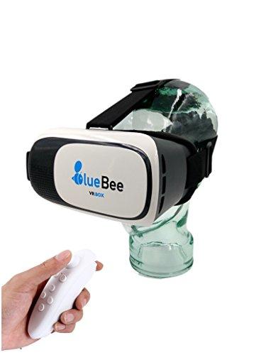 Lunettes BlueBee VR + Télécommande (Réalité Virtuelle Véritable 3D Google Lunettes / Casque / Casque / Casque / Lunettes pour iPhone / Samsung / Smartphones y compris Bluetooth 3.0 Télécommande de jeux)