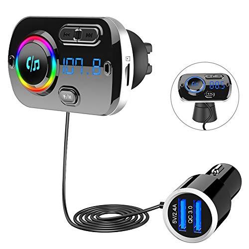 SONRU Nouveau Bluetooth 5.0 émetteur FM, Bluetooth pour la voiture, lecteur MP3 voiture mains libres pour les véhicules, QC3.0 chargeur de voiture USB, support carte TF et sortie AUX, lumière colorée