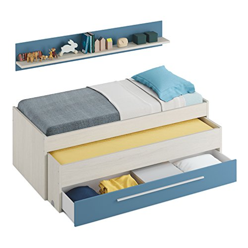 Habitdesign 0A7438Y - Lit de nid juvénile à deux lits et un tiroir, Alpes blanches et bleu, Dimensions : 200cm (L) x 69cm (H) x 96cm (P)