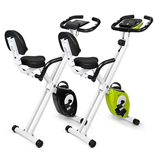 INTEY Vélo d'exercice pliable F-Bike avec 16 niveaux de résistance magnétique réglable et selle en gel, capteurs de pouls manuels, écran LCD, compact et pliable, charge maximale 100 kg