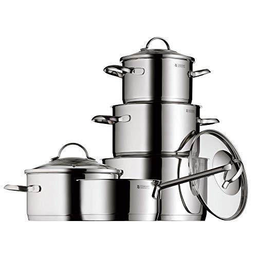 WMF Provence Plus - Ustensiles de cuisson 5 pièces en acier inoxydable, acier inoxydable Cromargan, couvercles en verre, convient à toutes les cuisines.