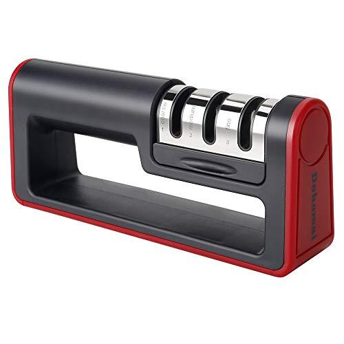 Affûteuse de couteaux de cuisine Dohomai, affûteuse de couteaux manuelle à 3 niveaux, avec base antidérapante, tige en céramique, tige diamant, lame en acier tungstène.