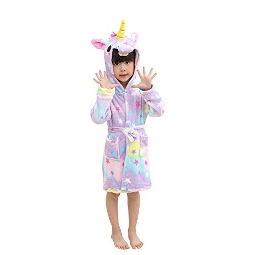 Peignoir souple pour enfants LANTOP Peignoir confortable Unicorn Flanelle Manteau à capuchon en flanelle Vêtements de nuit quatre saisons