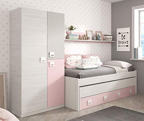 Pack Miroytengo Chambre à coucher pour enfants Lit juvénile avec étagère et armoire Couleur rose et blanc sans lit