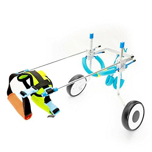 Fauteuil roulant réglable RUNGAO pour chien, jambes de rééducation pour petits chiens, chiens, chiots et 2 roues, XS-Weight:8-22lbs, hauteur de hanche:7.5'-13.8'.