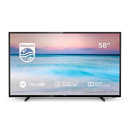 Philips 58PUS6504/12 - Smart TV LED 4K UHD, 58 pouces, résolution écran 3840 x 2160, noir brillant