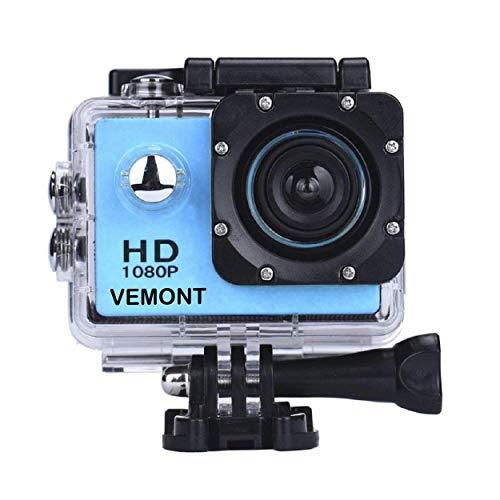 YMHX Vemont Sports Camera 1080P HD étanche à l'eau 30M Écran 2.0 Objectif grand angle 120 degrés Accessoires multiples pour les sports et activités, la plongée, la natation, la course à pied, le vélo, et plus encore. (Bleu)