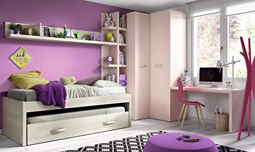 ambiato chambre d'enfant Vita 25 Ensemble complet Armoire d'angle Armoire de bureau Lit de bureau avec système de grand lit pour invités