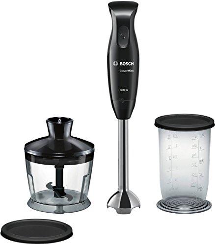 Bosch MSM2620B CleverMixx - mixeur manuel Bosch, dôme à quatre lames, avec hacheur, 600 W, couleur noir et gris