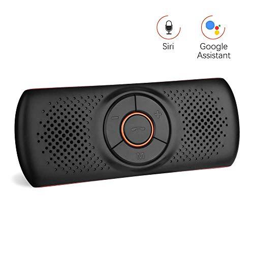 Aigoss Bluetooth Car Handsfree 4.2 avec Siri et Google Voice Command Assistant, Car Kit Haut-parleur sans fil pour pare-soleil, connexion de 2 téléphones simultanément - Orange