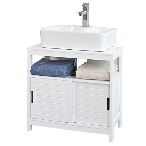 SoBuy Meubles sous lavabo,1 étagère et 2 portes coulissantes,H60cm,FRG128-W,ES