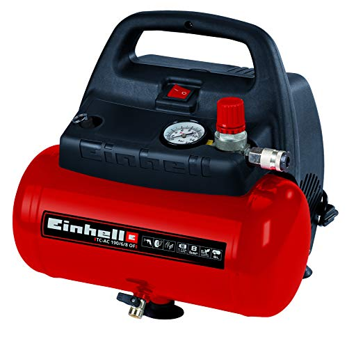Einhell TH-AC 190/6 OF - Compresseur d'air, 8 bar, réservoir 6 l, aspiration 185 l/min, 1100 W, 230 V, couleur rouge et noir