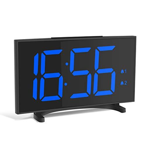 Réveil numérique YISSVIC Réveil numérique Réveil ultra mince avec 6,5 grand écran LED équipé de 2 fonctions de répétition d'alarme et 6 formats de luminosité réglables en niveau 12/24 heures, câble USB inclus