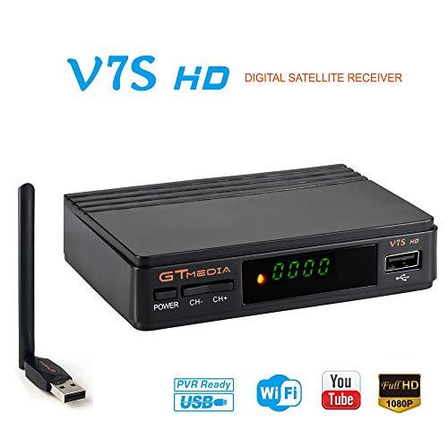 GTMEDIA V7S HD DVB-S2 Récepteur de télévision numérique par satellite DVB-S2 Freesat V7 Décodeur HD Décodeur WiFi USB WiFi FTA 1080P amélioré Support de l'antenne Full HD PVR, Cccam, Newcam, YouTube, PowerVu, DRE et Biss Key Support
