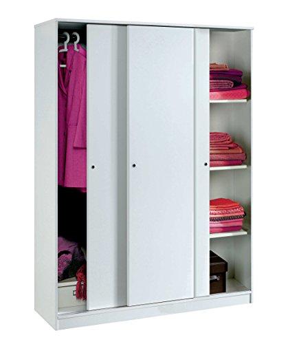 Grand placard blanc brillant avec 3 portes coulissantes, étagères réglables, bar intérieur avec chambre à coucher. 200cm Hauteur x 150cm Largeur x 55cm Profondeur